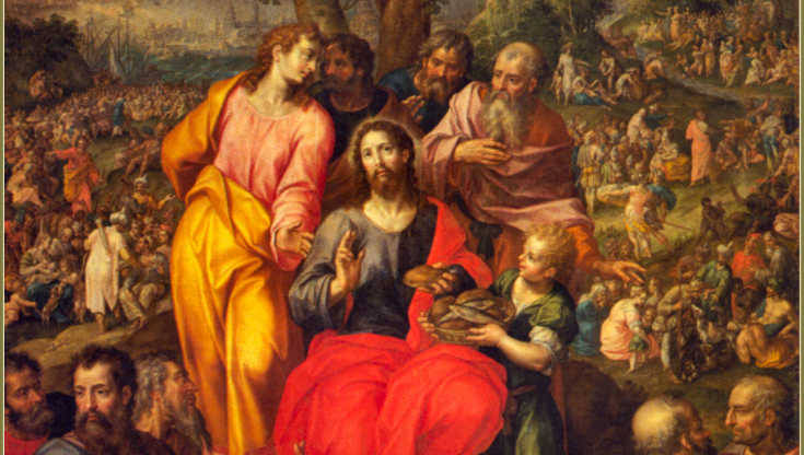Image result for jesus feeds the multitude in art